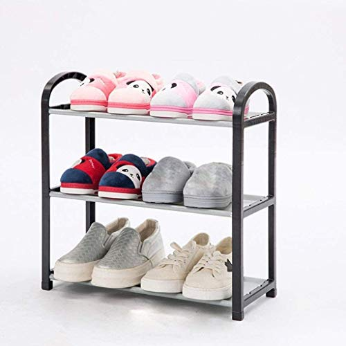 GCE Estante de plástico para Zapatos de 3 Niveles Organizador de Zapatos Multifuncional liviano y Duradero Estante para Zapatos de Entrada Que Ahorra Espacio Negro 60x20x43cm (24x8x17inch) 1