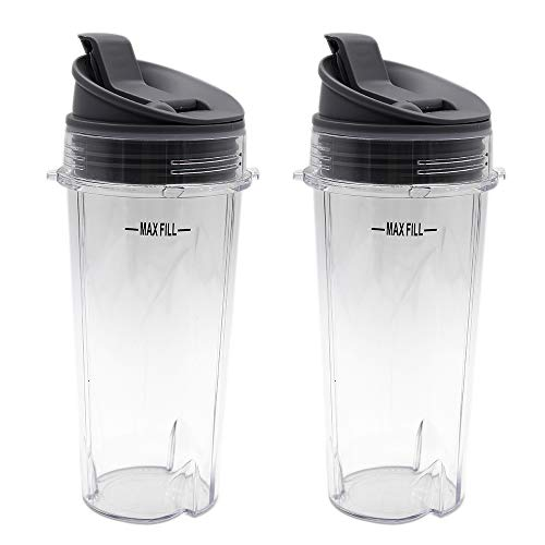 Anbige Replacement Parts for Ninja Blender, 16oz Cup with Lid Compatible with Ninja BL770 BL660 BL810 QB3000 All Pro 4 Tab Blenders (2 cups + 2 sip&seal lids)