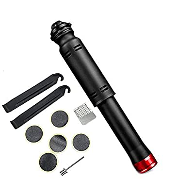 Tmcom Mini Bike Pump Bicycle Tire Pump for Road, Mountain and BMX Bikes Portable Lightweight Bicycle Air Pump Fits Presta and Schrader,Mountain Bike, Ball (Red)