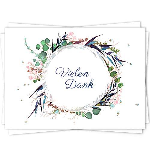 10 Dankeskarten Set, Dankeskarte, Karte Danke, Postkarte Danke, Dankeschön Karten, Thank you cards, Dankeskarten Hochzeit, Danke Karten DIN A6 - Kranz1