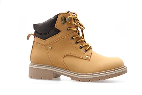 Forever Broadway-5 Women's Military Combat Lace Up Padded Cuff Martin Boot Slip-Resistant Hiking Outdoor Work Shoes Ankle Short Boot,Color:Camel, Size:10