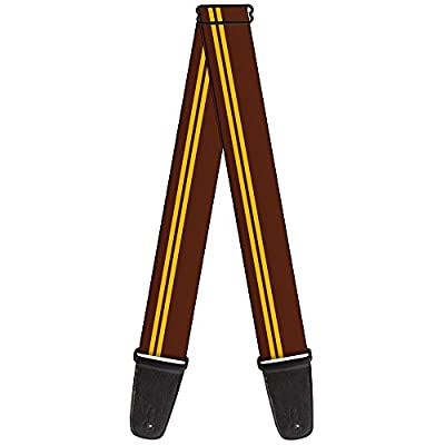 Guitar Strap Racing Stripe Brown Gold 2 Inches Wide