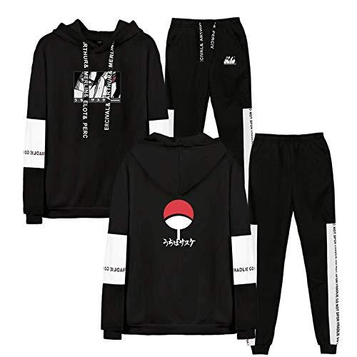 HUANHE Anime Naruto Hoodie + Hosen Sportanzug Uchiha Sasuke Jungen Mädchen Langarm Känguru Tasche Sporthemd Anime Cosplay Kostüm