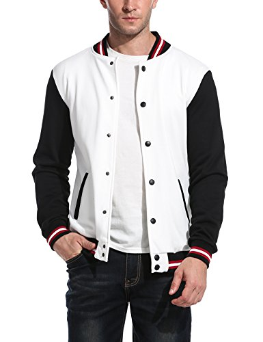COOFANDY Men Fashion Long Sleeve Button Front Cotton Bomber Baseball Jacket(White,Medium)