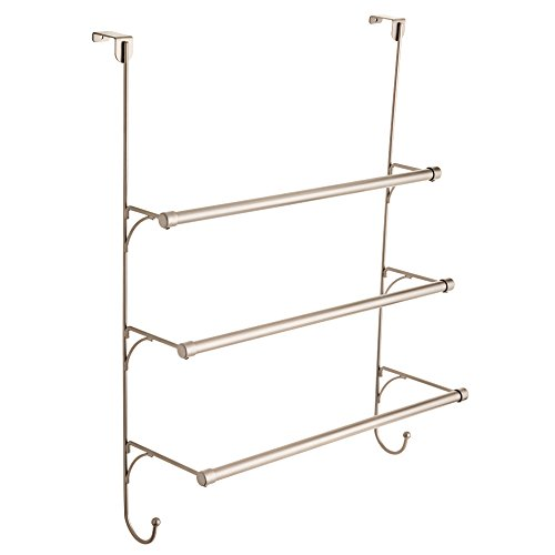 Franklin Brass 193153-FN Over the Door Triple Towel Rack with Hooks, Satin Nickel