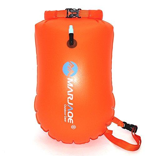 Ruiuzi Boya Natación -Swim Buoy - La boya para Nadadores y triatletas de Aguas Abiertas para Abierto Agua Nadadores Entrenamiento o competición con Bolsa Seca (Naranja)