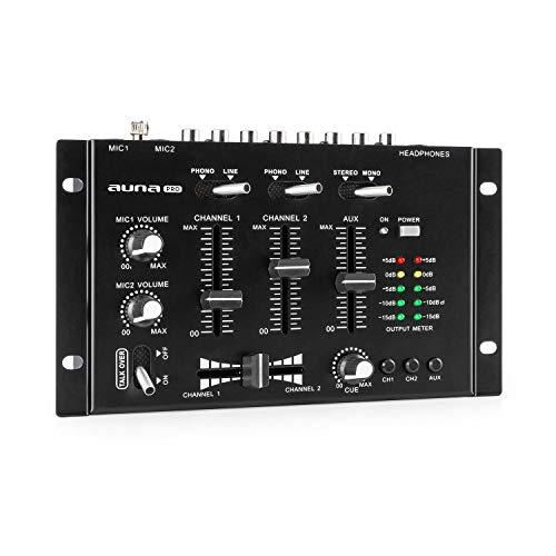 auna Pro TMX-2211 MKII Mezclador para DJ, 3/2 Canales, 2x6.3mm Mic-In, 2 x RCA-Linein con Phono-Switch, RCA-AuxIn, Crossfader, Función Talkover, Salida para Auriculares, Montaje en Rack, Negro