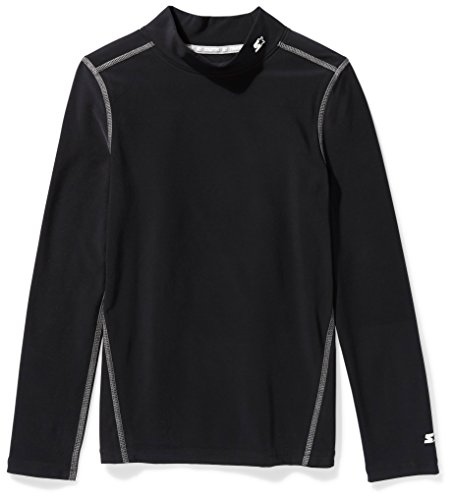 Starter Boys' Long Sleeve Mock Neck Athletic Light-Compression T-Shirt, Amazon Exclusive, Black, S (6/7)