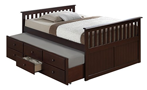 Broyhill Kids Marco Island Full Captain's Bed with Trundle, Espresso Full-Sized Bed with Twin-Sized...