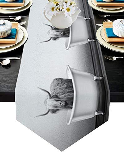 Camino de mesa de algodón y lino con diseño de triángulo, 33 x 180 cm, para bañera, bufandas de mesa, bandera, para cenas, fiestas, bodas, banquetes de boda, color negro, blanco, yak, pared Shabby