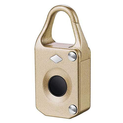 Smart Door Lock Electronic Smart Fingerprint Padlock Outdoor Travel Suitcase Bag Lock for Indoor or Outdoor (Color : Gold, Size : One size)