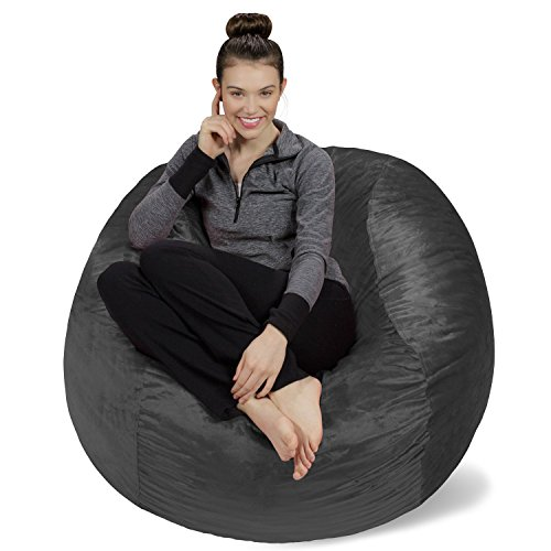 Sofa Sack - Plush, Ultra Soft Bean Bag Chair - Memory Foam Bean Bag Chair with Microsuede Cover - Stuffed Foam Filled Furniture and Accessories for Dorm Room - Charcoal 4'