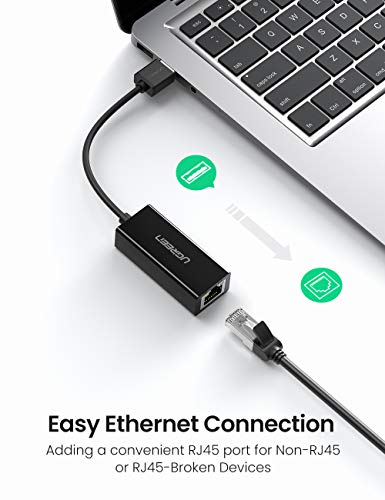 UGREEN Ethernet Adapter USB 2.0 to 10/100 Network RJ45 Lan Wired Adapter for Nintendo Switch, Wii, Wii U, Macbook, Chromebook, Windows 10, 8.1, Mac OS, Surface Pro, Linux ASIX AX88772 Chipset (Black)