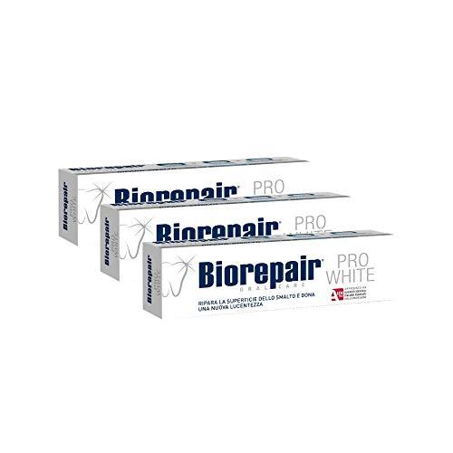 Biorepair, Dentifricio Pro White, Dentifricio Anticarie, Ripara lo smalto, Sbiancante, Antibatterico, Senza Fluoro, 3 Confezioni da 75ml
