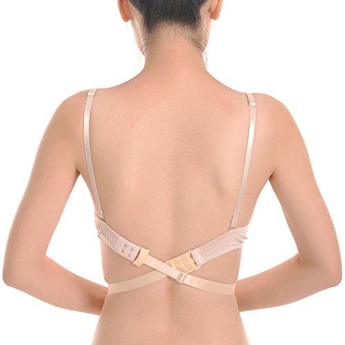 Closecret Frauen Einstellbare mit tiefem Rücken BH KonverterGürtel 2 Haken (Packung mit 3 Stück)