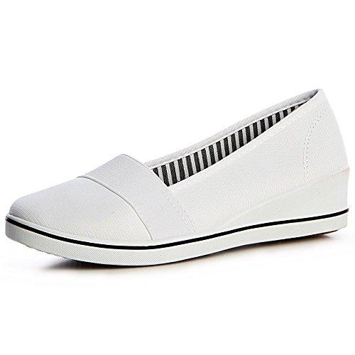 topschuhe24 1352 Damen Keilabsatz Sneaker Ballerina Slipper Turnschuhe Pumps Sportlich, Größe:39 EU, Farbe:Weiß
