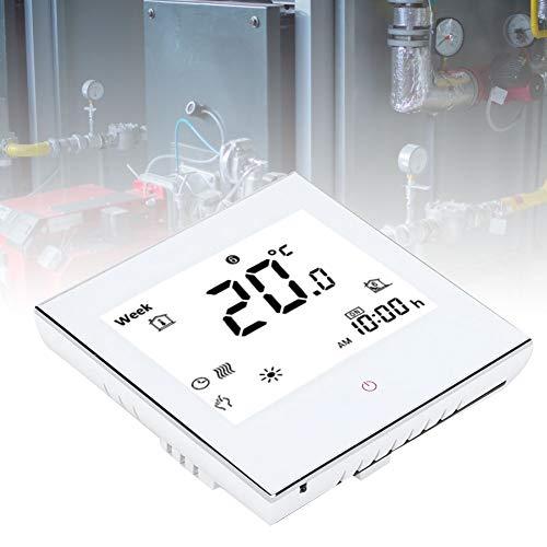 Termostato de ambiente de calefacción, Control inteligente de calefacción central, Termostato de ambiente digital programable semanal con pantalla táctil LCD, Blanco/Negro 3A(Blanco)