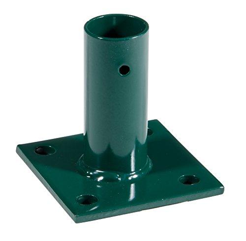 VERDELOOK Piastra Manicotto a Base Quadrata e Supporto Rotondo Porta palo, cancello e Pannelli per Fissaggio a Terra Verde Diametro Interno 34 mm