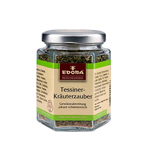 Premium Qualität Gewürz EDORA Schraubglas Tessiner Kräuter pikant schweizerisch Gewürzzubereitung 50 Gramm