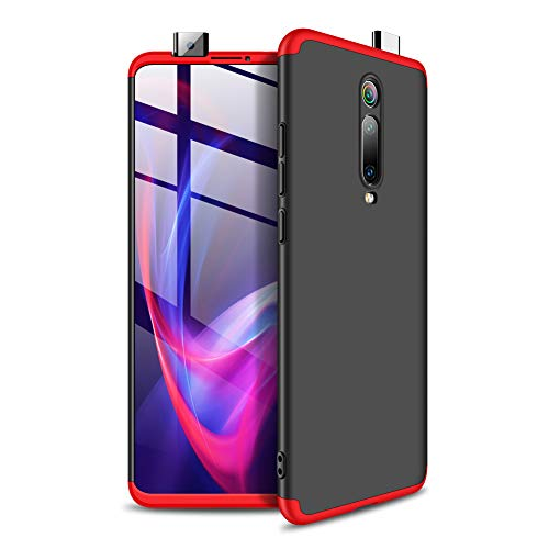 NOKOER Cover for Xiaomi Mi 9T, 3 in 1 All inclusive Anti Fingerprint Case, 360 Protection Degree [Ultrathin] [Shockproof] Hard Case for Xiaomi Mi 9T - Red Black