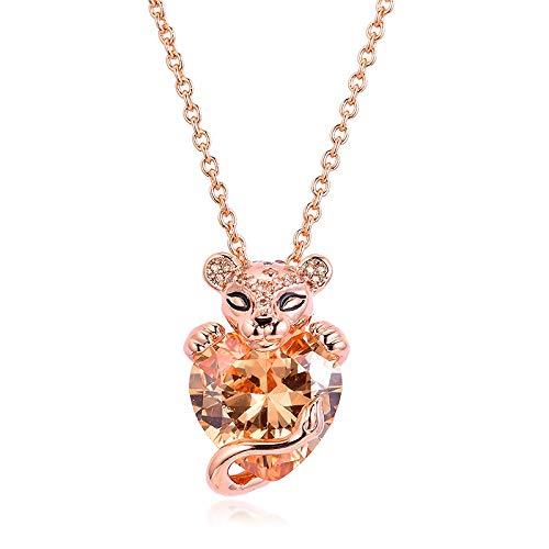 PANDOCCI Collar de plata 925 para mujer, diseño de corazón de león brillante, para mujer, para pulseras Pandora originales, joyería de moda