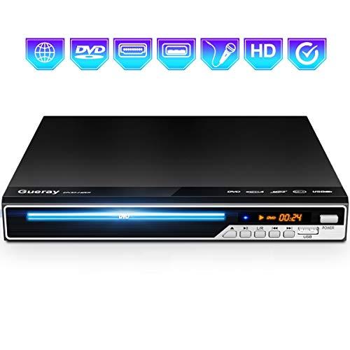 Gueray Kompakter DVD-Player Multi-Regionen Ohne Code mit USB-Eingang/HDMI/AV/MIC Ports und Fernbedienung und CD Ripping Funktion für TV-Anschluss