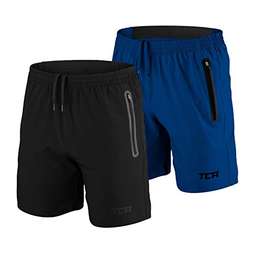 TCA Elite Tech Herren Trainingsshorts für Laufsport mit Reißverschlusstaschen - Schwarz + Blau, M