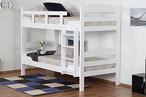 Etagenbett für Erwachsene Easy Premium Line  K13 n, Kopf- und Fu il gerundet, Buche Vollholz massiv Weiß- 90 x 200cm   (B x L), teilbar