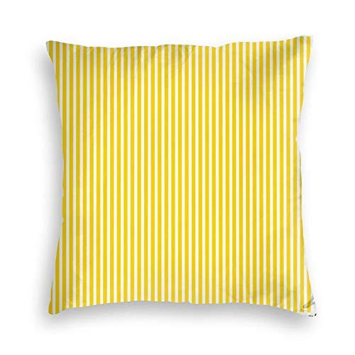 Federa per cuscino in morbido velluto quadrato decorativo con motivo a righe, colore giallo sole, per casa colonica, divano, letto, auto, ufficio, bambini, interni ed esterni, 45,4 x 45,7 cm
