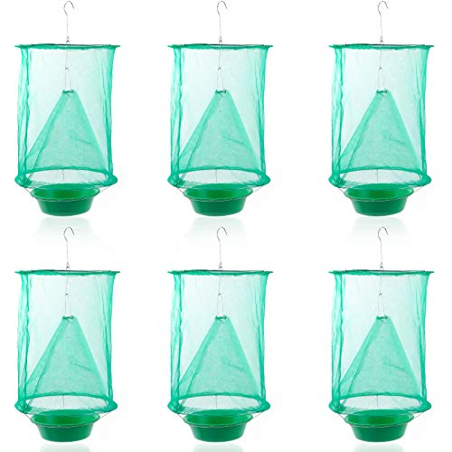 Decoroca Ranch Fly Trap, Effective Ranch Cage Fly Catcher for Outdoor Hanging Family Farms Flytrap Fly Traps- Green (6 Pack)