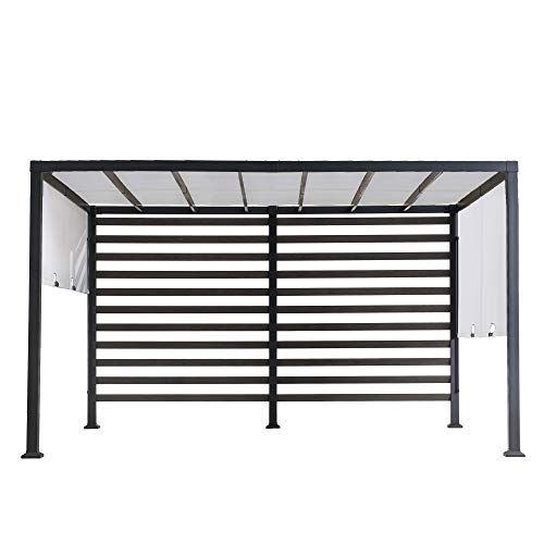 Sunjoy A106006400 Maverick 10x12 ft. Modern Steel Pergola with White Adjustable Shade