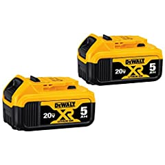 Compatible with DEWALT 20 Volt MAX tools Compact, light weight design Premium XR 5.0 Ampere hour Lithium Ion battery No memory and virtually no self discharge Includes 2 batteries Maximum initial battery voltage (measured without a workload) is 20 vo...