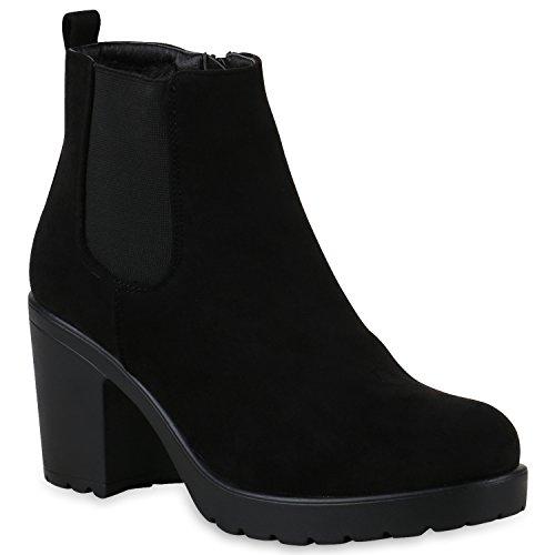 Damen Schuhe Plateau Boots Leicht Gefütterte Stiefeletten Profilsohle 146932 Schwarz Brooklyn 40 Flandell