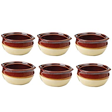 Appetizing Onion Soup Bowls Crock, Porcelain SET of 6 for Restaurant Serving, Dinner Meals. Ceramic Brown and Beige in Most Popular Size for Use 10 oz.
