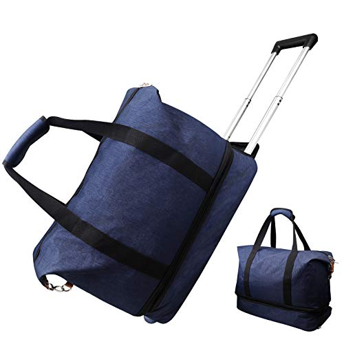 EDGCIES Rolling Duffel Bag Carry On with Wheels Luggage Men Women Tote Short Term Trips Expandable Small 20L Weekender Overnight Business Travel Spinner Canvas Suitcase Lightweight trolley-Blue