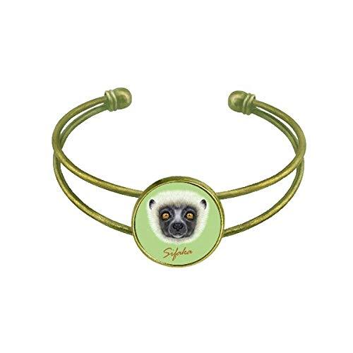DIYthinker White Fluffy Sifaka Monkey Animal Bracelet Bangle Retro Open Cuff Jewelry