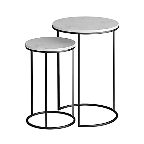 Set of 2 Stackable Nesting End Tables Marble Side Tables for Living Room Round Nest Coffee Tables for Small Spaces