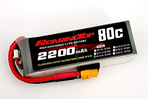 RoaringTop LiPo Battery Pack 80C 2200mAh 4S 14.8V with XT60 Plug for RC Car Boat Truck Heli Airplane