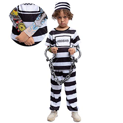 Prisoner Jail Halloween Costume with Tattoo Sleeve and Toy Handcuffs for Kids (Large (10-12yr)) White