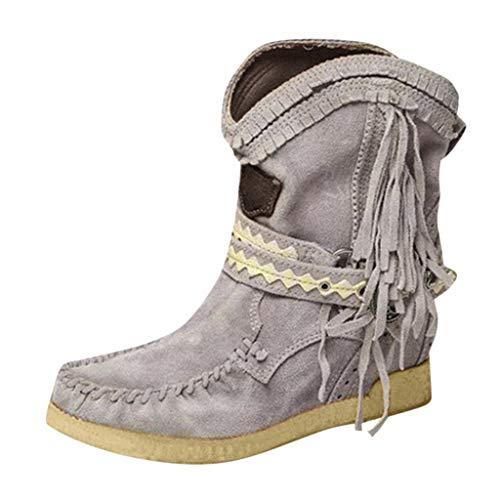 WUSIKY Stiefeletten Damen Bootsschuhe Boots Geschenk für Frauen Fashion lässig runde Kappe Wohnungen Retro Fransen Kurze Stiefeletten Flache Schuhe (Grau, 35.5 EU)
