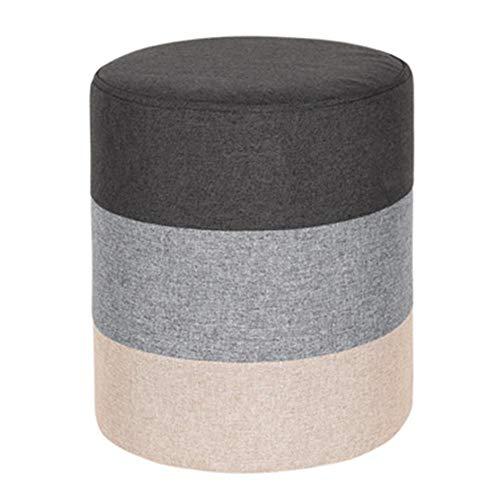 Kruk voor bank, rond, modieus, creatief, kleine kruk, van massief hout, stof, woonkamer, schoenwissel, kruk, slaapkamer, kleur zitting. gris grijs.