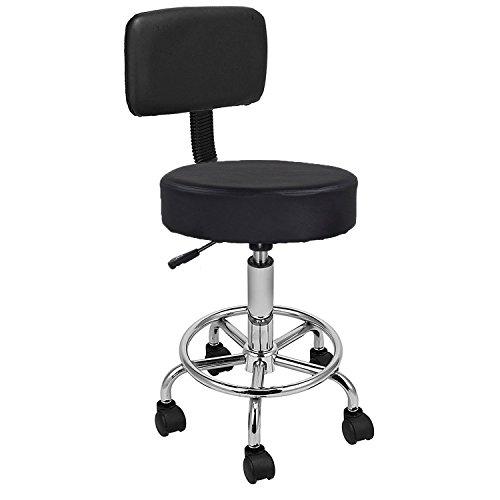 Display4top Nero Sgabello da Massaggio con Braccio Regolabile Regolabile per Massaggio a Cuscino con Schiena, 5 Ruote