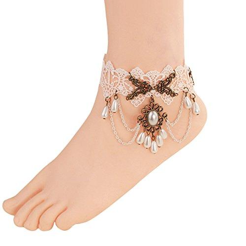 Da.Wa 1Pcs Bracelet de Cheville Vintage Femme Plaqué Argent Bijoux en Alliage Bohème Bagues de Pieds Bracelet