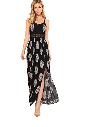 Floerns Women's Sleeveless Sundress Beach Maxi Long Dress Black L