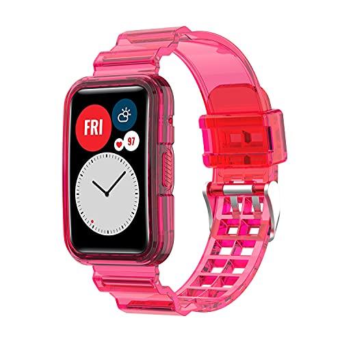BoLuo Correa para Huawei Watch Fit,Correas de Reloj,Bandas Correa Repuesto,Flexible Crystal Silicona Reloj Recambio Brazalete Watch Correa Repuesto para Huawei Watch Fit Accessories (Rosa)