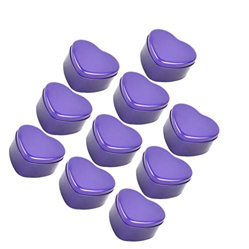 NUOBESTY 10pcs Empty Heart Shaped Metal Tins Box Candy Chocolate Boxes Case Cans with Lid Cosmetics Tins Easter Party Favors Containers Candles Making Tins