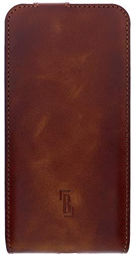 Burkley Funda para iPhone 12 Pro Max, compatible con Apple iPhone 12 Pro Max, funda con tapa y tarjetero, color marrón