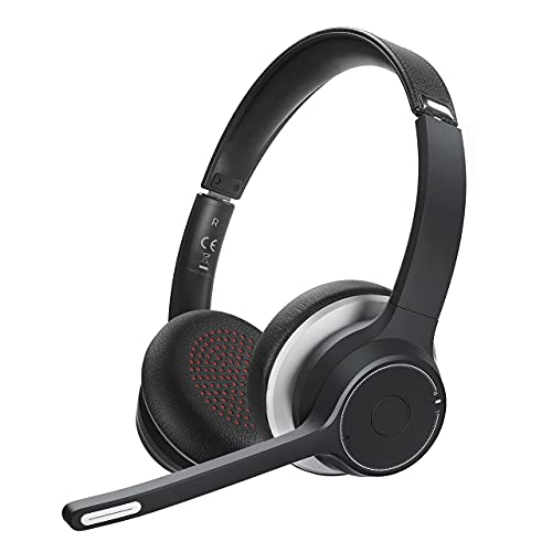 Cuffie Wireless per Ufficio con Microfono, Microfono Flessibile con Cancellazione del Rumore CVC8.0, Wireless 5.0, Cuffie Wireless e Cablate per PC, Tablet, Smartphone, Skype, Affari, Camionisti