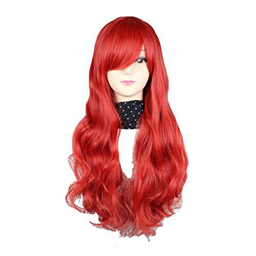 80 cm de Long Femmes bouclés Parti 9 Couleurs synthétiques Cheveux Perruque complète Anime (Color : Pink, Stretched Length : 28inches)