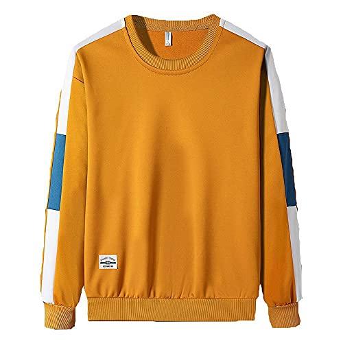 Camiseta de manga larga para hombre, suelta, cómoda y de cuello redondo, amarillo, XXXL